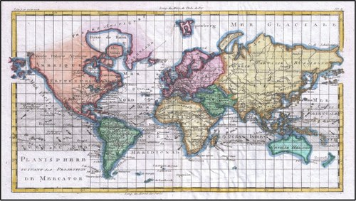 Mappa antica dle mondo da : https://commons.wikimedia.org/wiki/File:1780_Raynal_and_Bonne_Map_of_the_World_-_Geographicus_-_Planisphere-bonne-1780.jpg